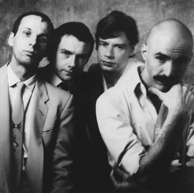 The Eighties King Crimson Line Up (l to r: Adrian Belew, Robert Fripp, Bill Bruford, Tony Levin)