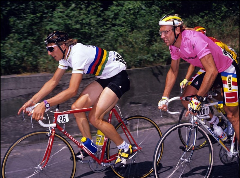Maurizio Fondriest In the World Champion's Rainbow jersey and Lauren Fignon
